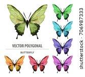 vector polygonal butterfly. low ... | Shutterstock .eps vector #706987333
