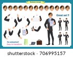 businessman character. poses... | Shutterstock .eps vector #706995157