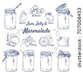 doodle set of jam  jelly  ...   Shutterstock .eps vector #707008453