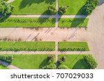 top view of the direct walking... | Shutterstock . vector #707029033