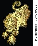 gold tiger vector on black... | Shutterstock .eps vector #707039833