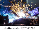 worker with protective mask... | Shutterstock . vector #707040787