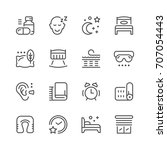 set line icons of sleep... | Shutterstock . vector #707054443