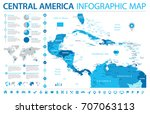 central america map   detailed... | Shutterstock .eps vector #707063113