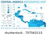 central america map   detailed... | Shutterstock .eps vector #707063113