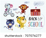 back to school. childish... | Shutterstock .eps vector #707076277
