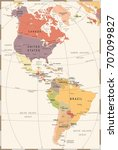north and south america map  ... | Shutterstock .eps vector #707099827