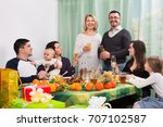 big happy positive family... | Shutterstock . vector #707102587
