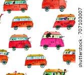 watercolor  seamless pattern... | Shutterstock . vector #707103007