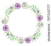 watercolor flower wreath purple ... | Shutterstock . vector #707113777
