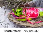 ribbons and cutted lavender... | Shutterstock . vector #707121337