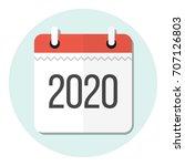 calendar 2020 flat design icon | Shutterstock .eps vector #707126803