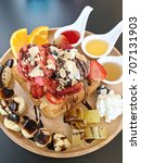 honey toast and strawberry ice... | Shutterstock . vector #707131903