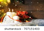candels with christmas... | Shutterstock . vector #707151403
