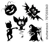 halloween cute vector... | Shutterstock .eps vector #707203363