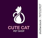 cat logo   vector illustration  ... | Shutterstock .eps vector #707212927