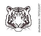 monochrome tiger head | Shutterstock .eps vector #707213197