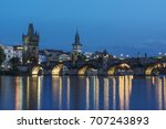 charles bridge in prague at... | Shutterstock . vector #707243893