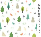 cute forest background. vector... | Shutterstock .eps vector #707253853