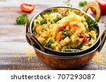 couscouos tabbouleh salad with... | Shutterstock . vector #707293087