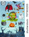 Happy Halloween. Pumpkin, spider, cat, witch, vampire and cemetery landscape, 3d vector icon set
