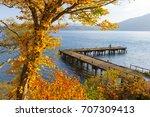 lake towada is the caldera lake ... | Shutterstock . vector #707309413