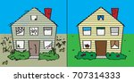 before and after outside of... | Shutterstock .eps vector #707314333