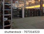 mining. bitcoin farm. working... | Shutterstock . vector #707316523