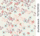 floral rustic pattern with pink ... | Shutterstock .eps vector #707329933