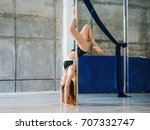 young sexy slim woman pole... | Shutterstock . vector #707332747