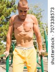 fit man exercising at the park  ...   Shutterstock . vector #707338573