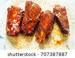 sweet   sticky slow cooked... | Shutterstock . vector #707387887