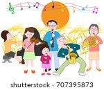 a concert of the full moon...   Shutterstock .eps vector #707395873