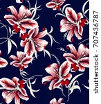 seamless floral pattern | Shutterstock .eps vector #707436787