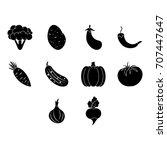 vegetables icon set | Shutterstock .eps vector #707447647