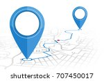 gps. pin dropping point to... | Shutterstock .eps vector #707450017