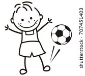 boy and soccer ball  vector... | Shutterstock .eps vector #707451403