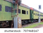 abandoned green train boxcars...   Shutterstock . vector #707468167