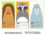cute 2018 calendar pages with... | Shutterstock .eps vector #707473003