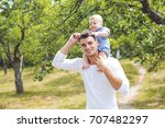 beautiful father little toddler ... | Shutterstock . vector #707482297