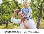 beautiful father little toddler ... | Shutterstock . vector #707482363