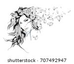 sketch. summer style. girl with ... | Shutterstock .eps vector #707492947