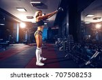 fitness blonde girl posing and... | Shutterstock . vector #707508253