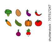 vegetables icon set | Shutterstock .eps vector #707517247