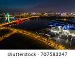 city scenery and traffic flow... | Shutterstock . vector #707583247