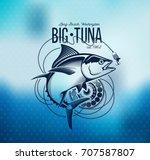 Tuna Fishing Emblem On Blur...