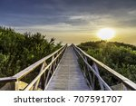 the wooden peer to the beach    Shutterstock . vector #707591707