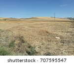 field cultivated with wheat and ... | Shutterstock . vector #707595547