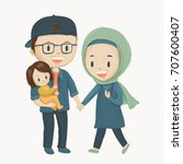young family. husband and wife  ... | Shutterstock .eps vector #707600407