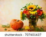 autumn still life with flowers... | Shutterstock . vector #707601637